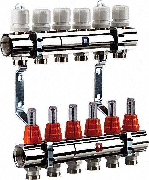 Heizkreisverteiler 4 Gruppen mit Durchflussmesser