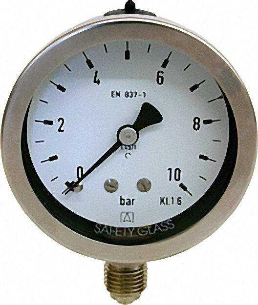 Manometer Chemie 0-2,5 bar, 63 mm für G1/4, axial