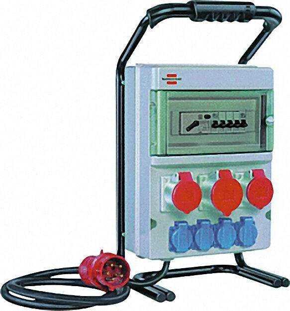 Tragb. Stromverteiler mit Fi-Schutzschalter 3 CEE Steckdosen/4Schutzko
