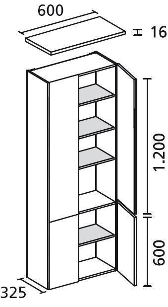 7132512 Hochschrank 60/182/30 Weiß/Pinie 4 Türen