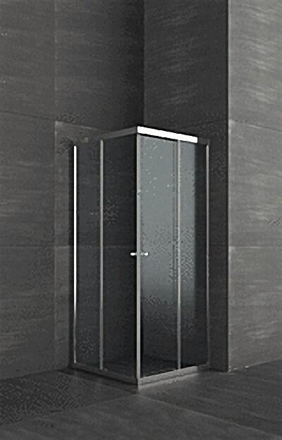 Duschkabine mit Eckeinstieg, Aluschienen silber, 4mm Sicherheits-Glas,