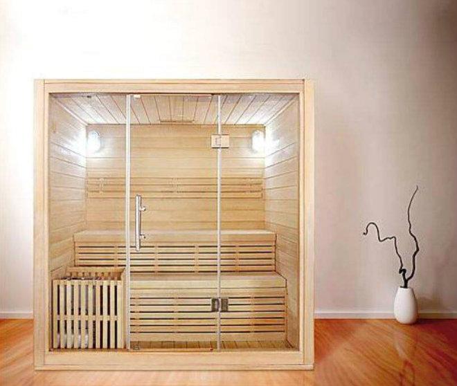 Sauna Athen Hemlocktanne mit Sternenhimmel Saunaofen 4,5KW 1800x1350x2000 mm