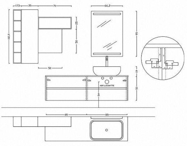 ARCOM Badmöbel-Set POLLOCK 43 weiß gesprenkelt Eiche Mais mit Aufsatz-WT und Spiegel