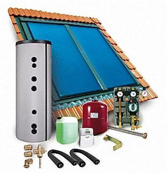 SUNEX Solarpaket MIK3 Speicher 300 Liter 3x Flachkollektoren SX 2,0 (6 qm) Inndachmontage