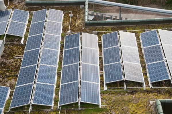 Gründach mit Solaranlage