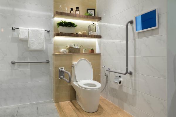 Ein schön gestaltetes, barrierefreies WC