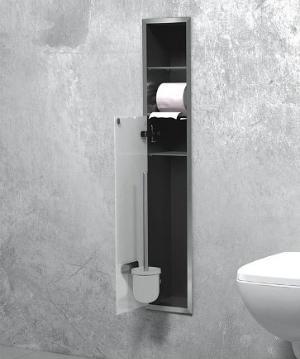 WC EDELSTAHL-EINBAUCONTAINER MIT BÜRSTENGARNITUR UND EINEM WC-PAPIERROLLENFACH 150 X 950 MM (B X H)