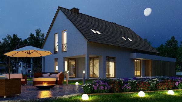 Einfamilienhaus mit Feuerstelle im Garten