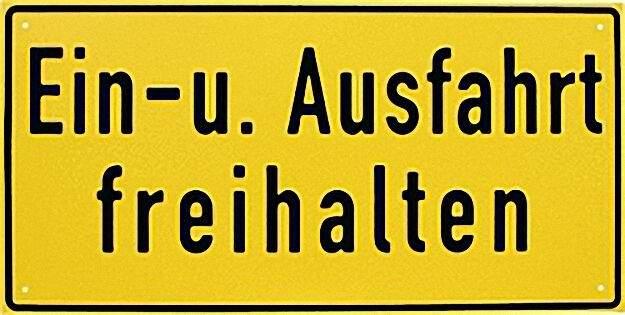 HINWEISSCHILD ''EIN-UND AUSFAHRT. . . '', 40 X20CM ALUMINUM, WETTERFEST