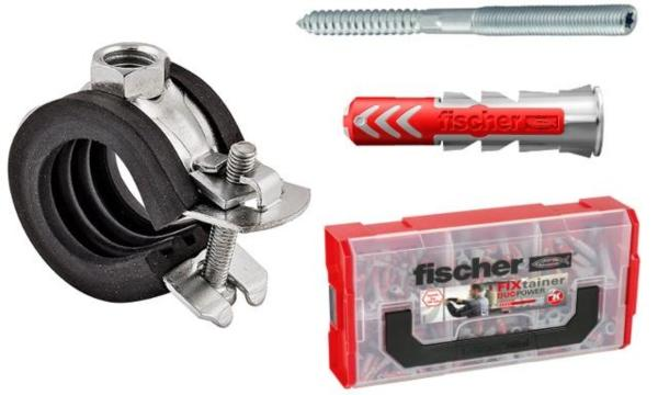 Fischer-Gelenkrohrschelle-Profi-SET-50-Stueck-Stockschraube-STST-M8-Duebel-DUOPOWER-10x50-Vorteils-Box