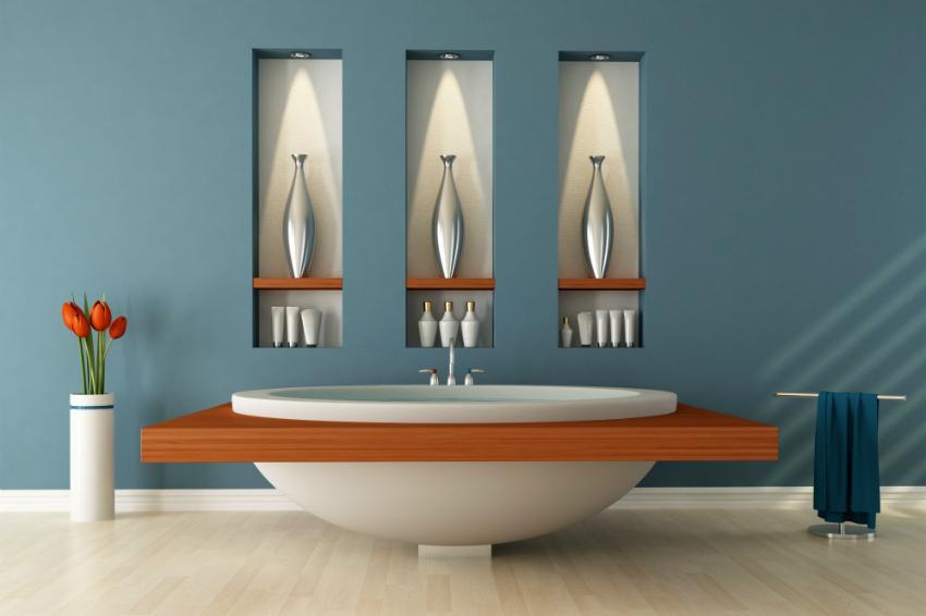 Konzept eines modernen Bades mit 3 Wandeinlassungen