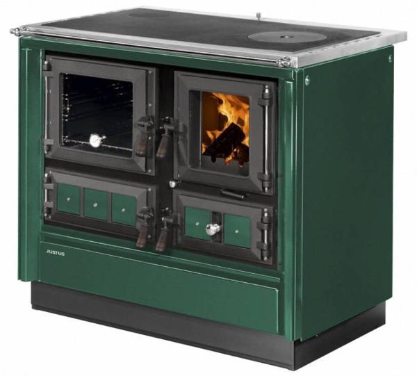 JUSTUS-Festbrennstoffherd-Rustico-90-2-0-gruen-Backfach-rechts-holzherd-heizen-kochen