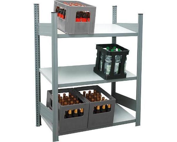 Getraenkekistengrundregal-mit-3-Stahlfachboeden-mit-150-kg-Fachlast