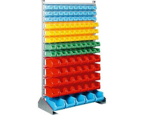Standregal mit 113 Kunststoffboxen regalsysteme