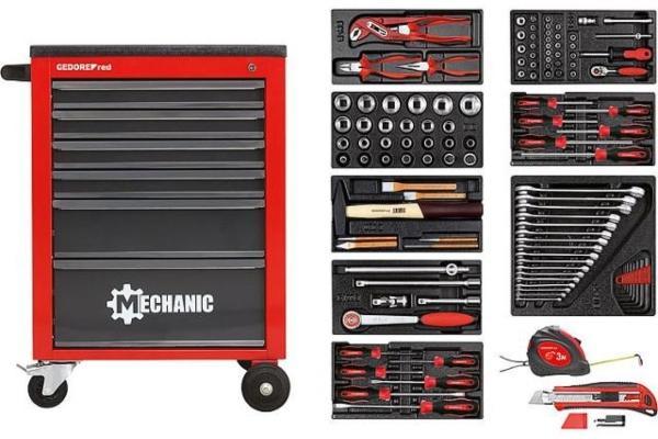 Werkstattwagen-GEDORE-red-bestueckt-mit-Werkzeug-119-teilig-hobby-werkstatt-einrichten
