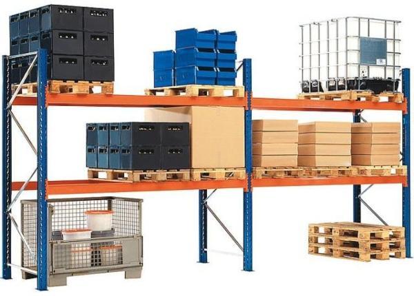 Palettenregal-Set-mit-2-Ebenen-3360x5700x1100-Feldlast-6000Kg
