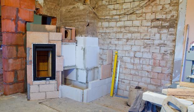 Einbau Kamin Baustelle