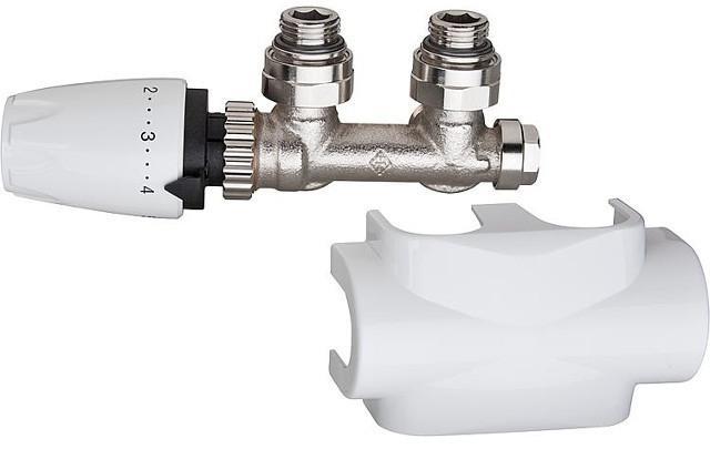 Heimeier Multilux Ventilset Durchgang, inklusive Designline Verkleidung+Thermostakopf