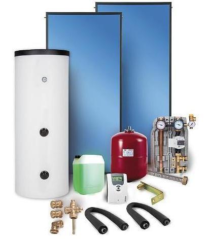 Solarpaket mit Flachkollektor und Pumpstation, Komplettsystem