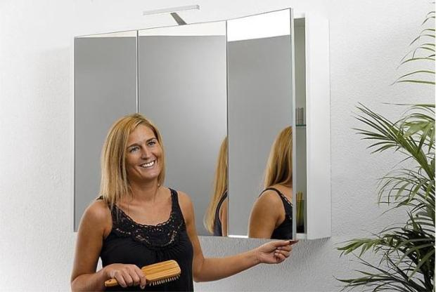 Spiegelschrank mit Beleuchtung Tranche ecru 3 Türen 950x750x188mm