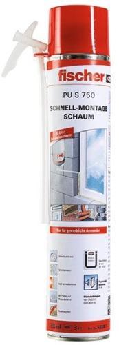 Fischer-Schnellmontageschaum-PU-S-750-ml-B2-1K-Standard-Adapter-Brunnenschaum-Bauschaum-Fugenschalldaemmung
