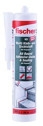 Fischer 59389 Multi Kleb- und Dichtstoff KD-290 weiß MS-Polymer für den Innen- und Außenbereich VPE