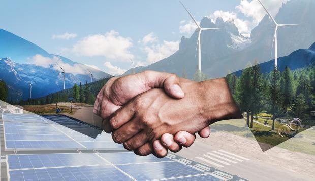 Handschlag - regenerative Energien sind die Zukunft