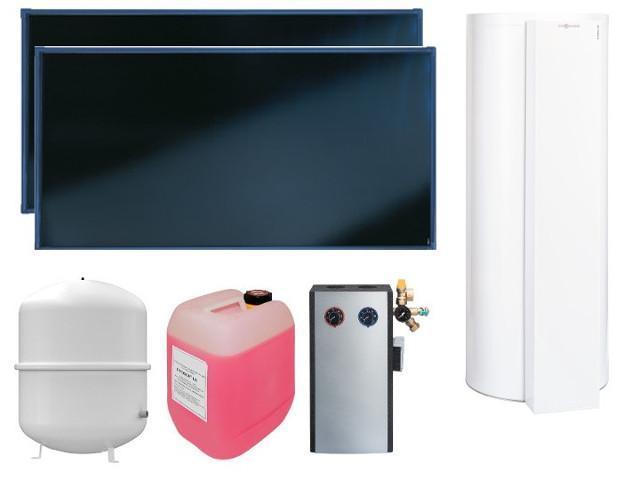 VIESSMANN Paket Vitosol 200-FM 2x SH2F, 5,02 qm, Vitocell 100-W 300 l, CVUC-A, Warmwasser