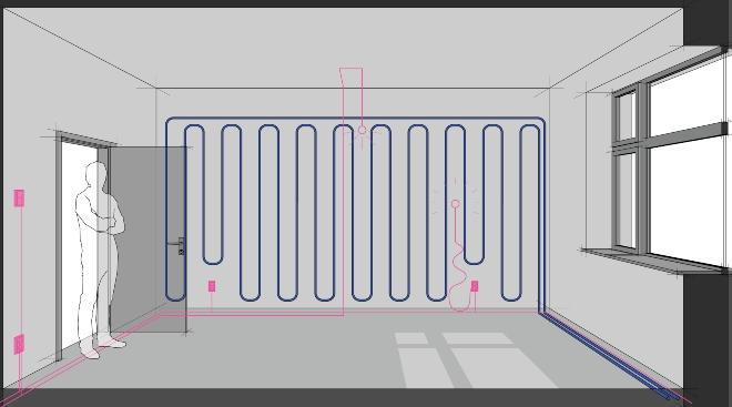 Schema einer Wandheizung