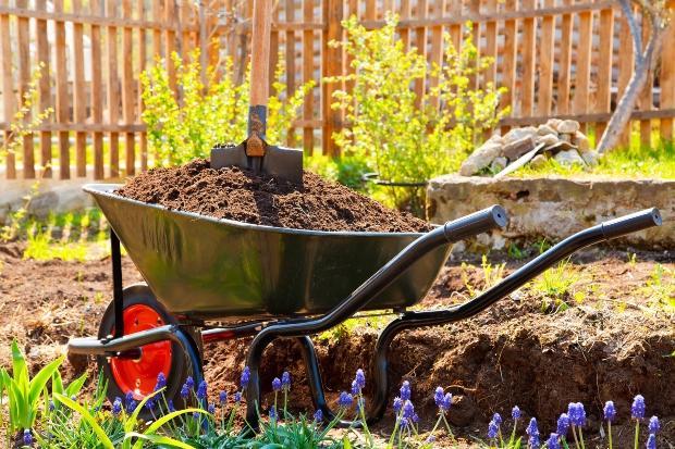Schubkarre mit Erde, - Beet vorbereiten im Frühling