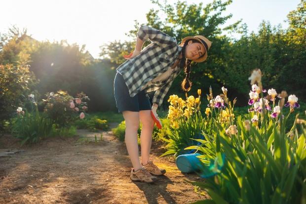 Junge Frau mit gekrümmtem Rücken beim gießen mit Gießkanne - Beetbewässerung auf die klassische Art