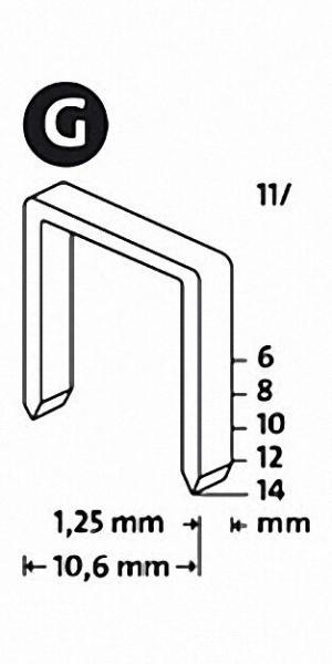 Tackerklammern Typ G 11/10 verzinkt Karton-Sparpackung 5000 Stück