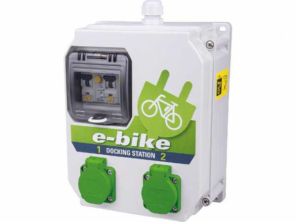 Ladestation e-Bike 250V/16A, 2x 6A FI/LS TypA 30mA BxTxH 204x114x255mm