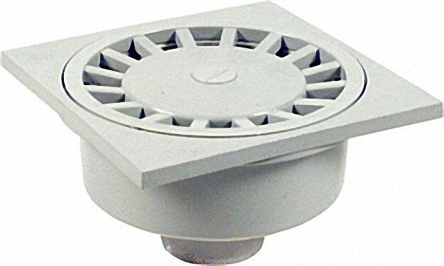 Haus- und Hofablauf grau 300x300mm Abgang DN 100 senkrecht