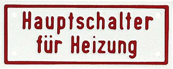 Hinweisschild 4 x 10cm ''Hauptschalter für Heizung'' Aluminium