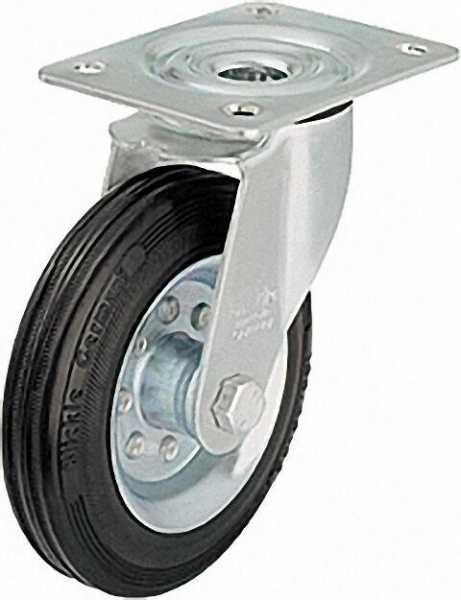 BLICKLE Vollgummilenkrolle mit Stahlblech-Felge LE-VE 80R, Tragfähigkeit 50 kg Rad D= 80mm, Platteng