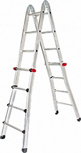Leichtmetall Teleskopleiter Sprossenzahl 4 x 4 Länge: 4,20m