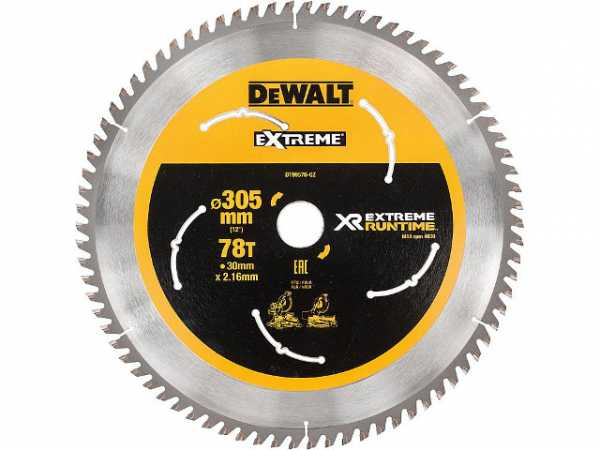 DeWalt Kreissägeblatt XR Extreme Runtime, ø 305x30 mm 78 Zähnen