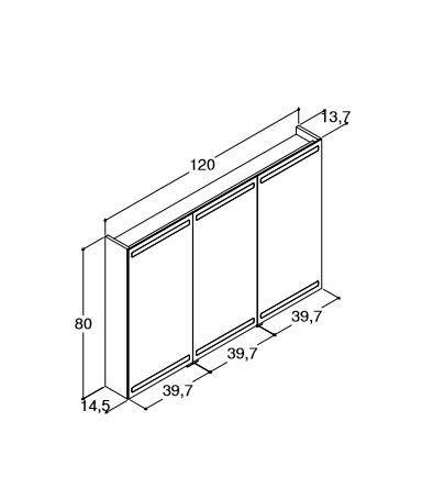 DANSANI Spiegelschrank mit Beleuchtung oben und unten B-120 cm