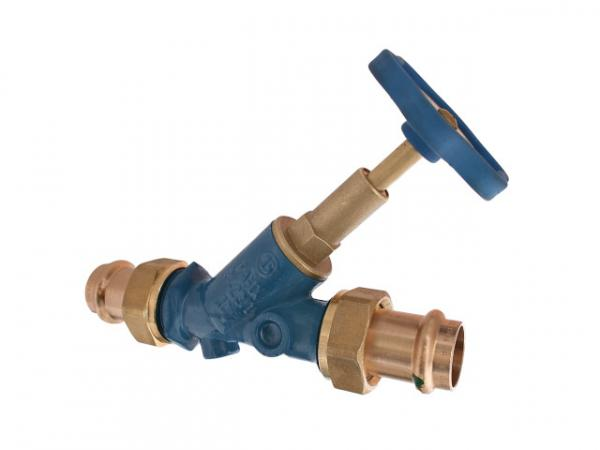 Freistromventil, Serie Blue-tec, mit Pressanschluss (Außengewinde) MULTI, ohne Entleerung, mit steigender Spindel, DN20, Pressdurchmesser 22