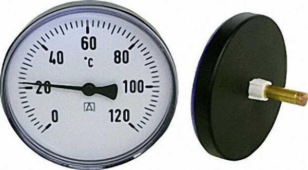 AFRISO Bimetall-Zeigerthermometer 0-120 °C d = 100mm, Kunststoffgehäuse mit Fühler 40mm