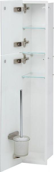 WC Edelstahl-Einbaucontainer, innen weiß pulverbeschichtet, mit Bürstengarnitur und einem WC-Papierr