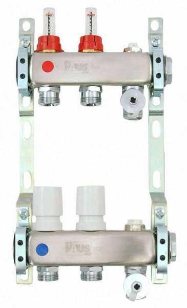 Heizkreisverteiler aus Edelstahl für Fußbodenheizung Profi-Ausführung 2-fach