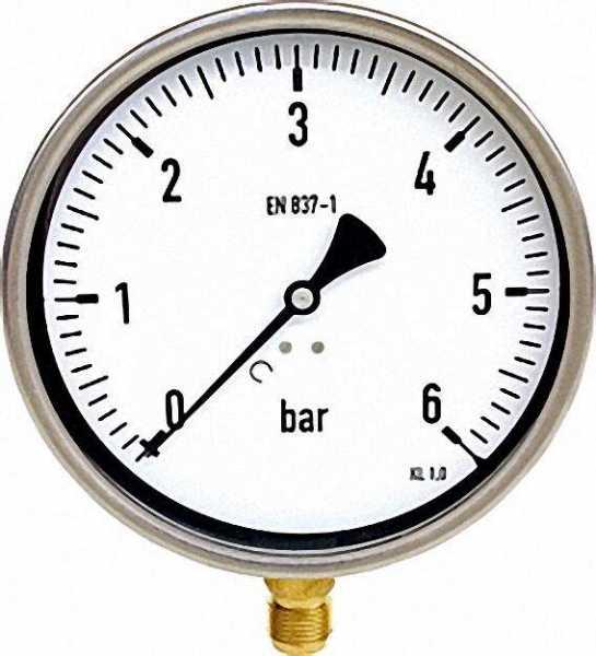 Manometer robust, 0-10 bar, 160 mm für G1/2
