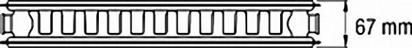 Ventil-Heizkörper mit 6-fach- Anschluss 1/2'' - 21/400/800 Farbe: RAL 9016