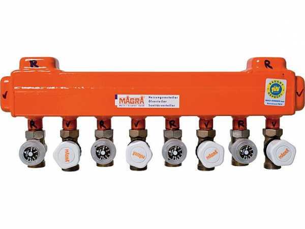 MAGRA 10200600717 Heizkreisverteiler 60/60 mit montierten Ventilen und Rondo- Abgleichventil für 7 Heizgruppen