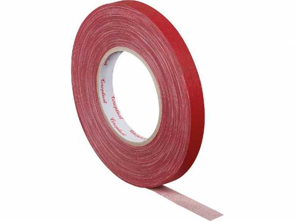 Gewebeklebeband, kunststoffgeschützt rot, Breite 15 mm Länge 50 m