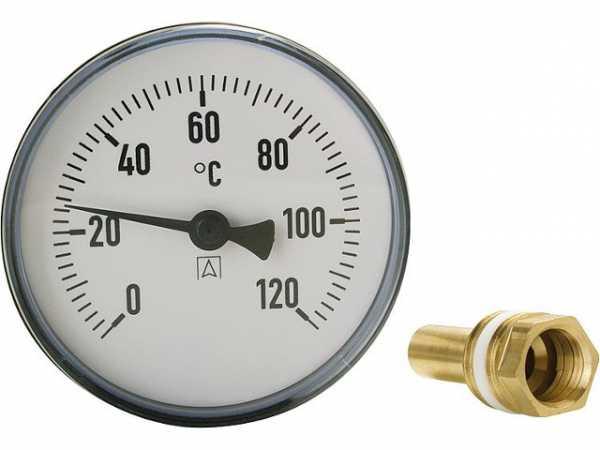 AFRISO Bimetall-Zeigerthermometer 0-120°C d = 100mm mit Fühler 150mm