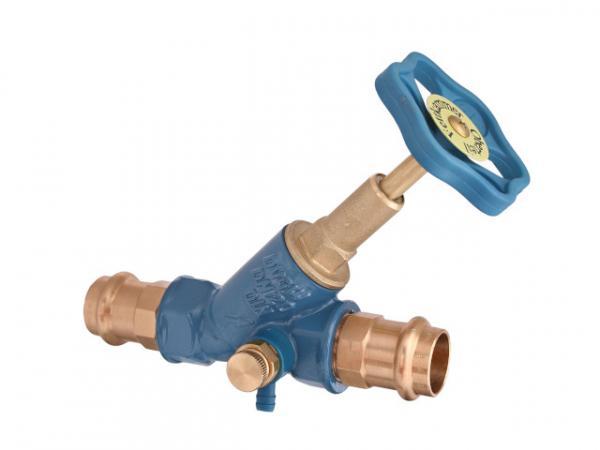 Freistromventil, Serie Blue-tec, mit Pressanschluss (Innengewinde), mit Entleerung, mit steigender Spindel, DN25, Pressdurchmesser 28mm, DVG