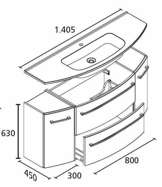 LANZET 7226712 S2. 1 Waschtischunterschrank: 140x63x45 Grafit/Grafit 2 Schubladen